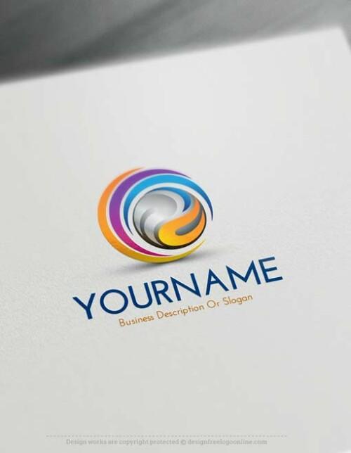 3D swirl logo design online free logos creator