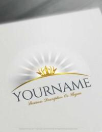 Free Logo creator - Glowing Crown logo design