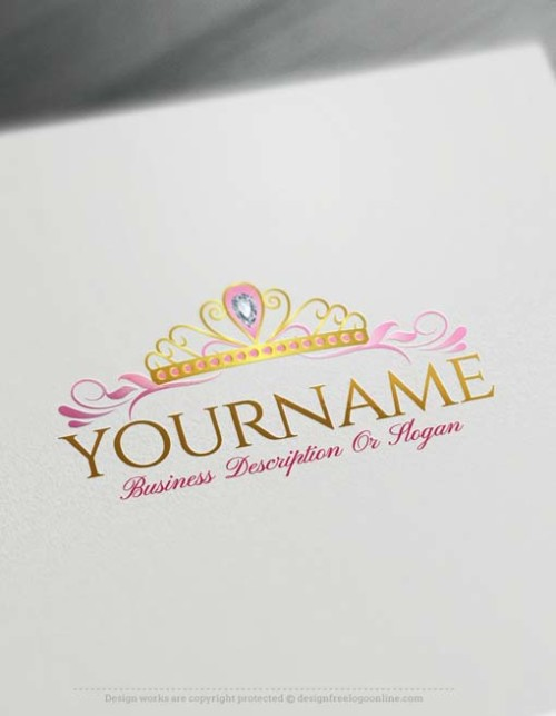 Princess Crown logo design with the best Free Logo Maker