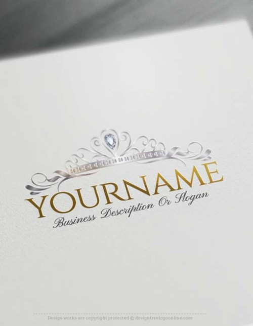 Create Royalty Princess Crown logo design with the best Free Logo Maker