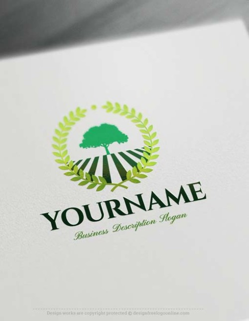 Make Own Green Tree Logo Free with Logo design Maker