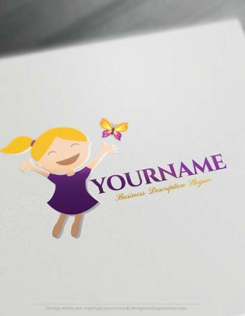 Create Free Happy Kid Logo Design - Online Logo Designer