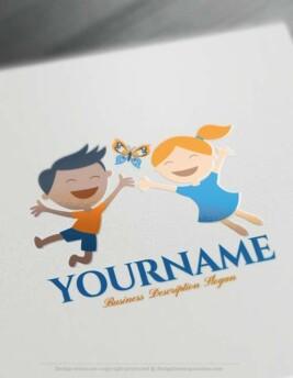 Create Happy Children Logo Design - Online Kids Logo Maker