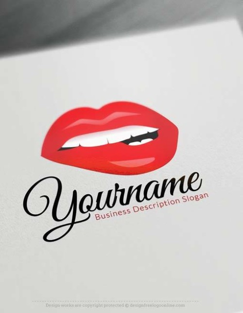 Create sexy red lips Logo Free with makeup Logo maker