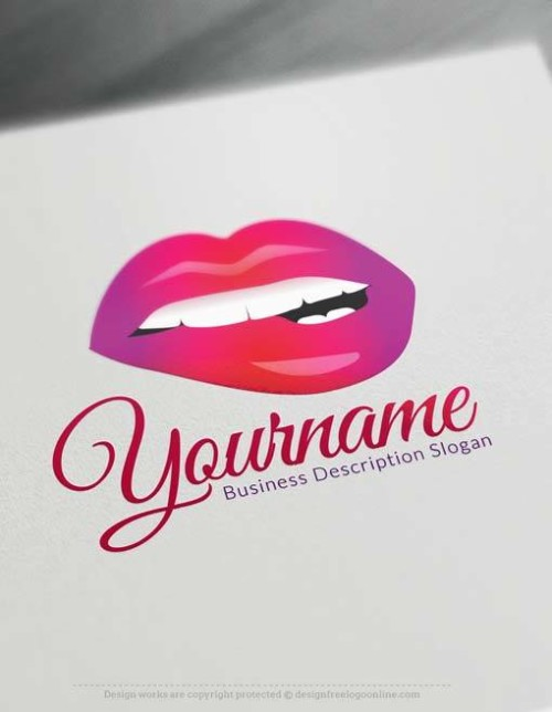 Create sexy lips Logo Free with makeup Logo maker
