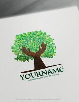 Create online hands holding tree Logo with Free Logo Creator