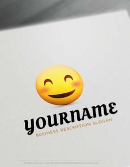 000837 Happy Face emoji logo maker Free emoji Smiley Logo design