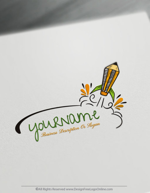 Create Free Pencil Logo with Online education Logo Creator.