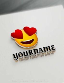 Create Free Heart Eyes Emoji Logo with Online Logos Creator.