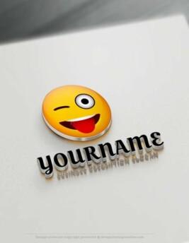 free Crazy emoji logo maker Free Winking Eye Emoji Logo design