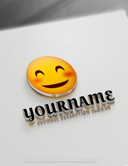 000837 Happy Face emoji logo maker Free emoji Smile Logo design