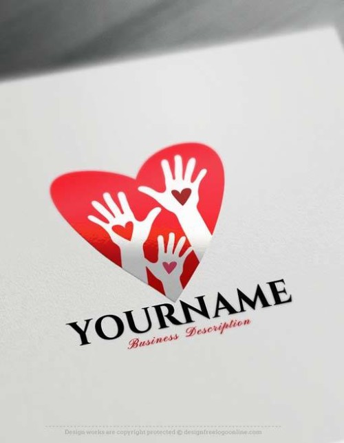Free Logo Creator - Make red Heart Hands Logo Design