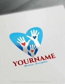 Free Logo Creator - Make blue Heart Hands Logo Design
