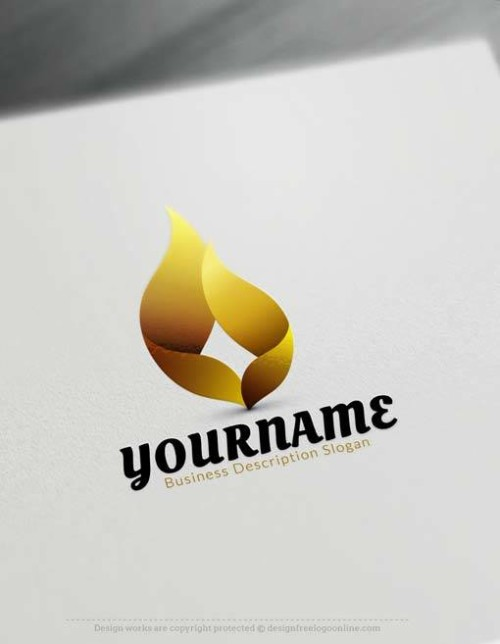 Create GOLD 3D flame Logo with 3