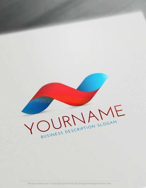 Free 3D Logo Maker - BLUE RED Wave 3D Logo Creator