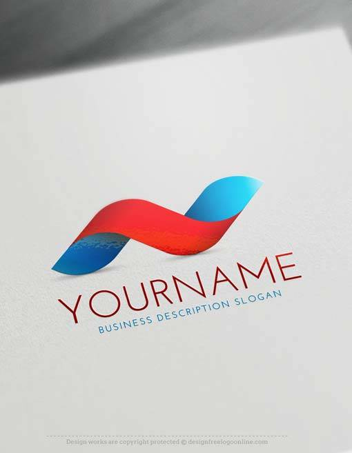 Free 3D Logo Maker - BLUE RED Wave 3D Logo Creator