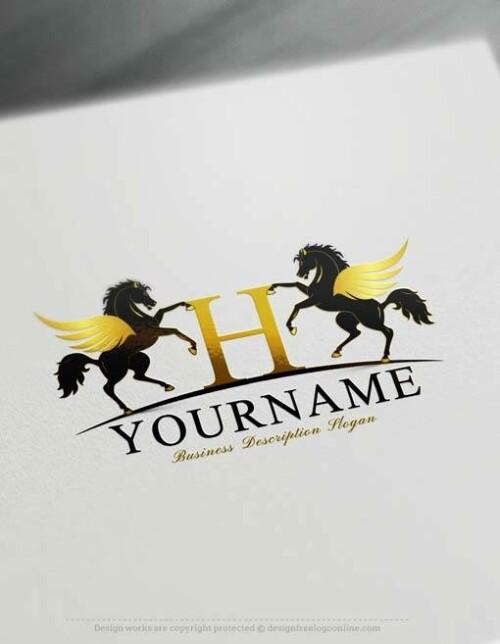 Gold Logo Maker Free Alphabet Pegasus Logo Template