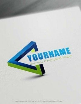 Free 3D Logo Maker - Blue 3D triangle Logo Creator
