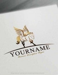 Logo Maker Free Wings bronze Pegasus Logo Template