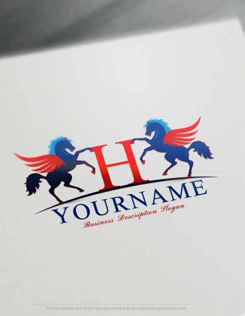 USA Logo Maker Free Alphabet Pegasus Logo Template