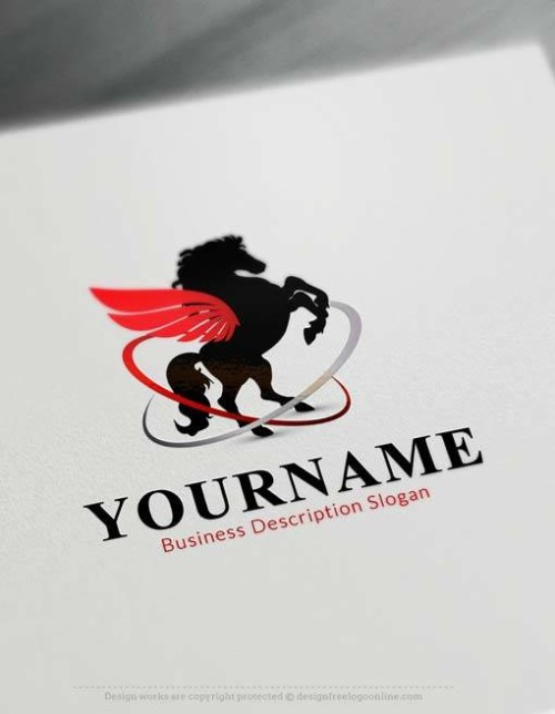 Create Free winged horse Logo Template with the Logo Maker