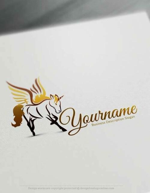 Free Gold Unicorn Logo Templates