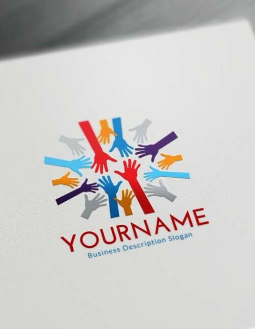 Online Group Hands Logo Creator