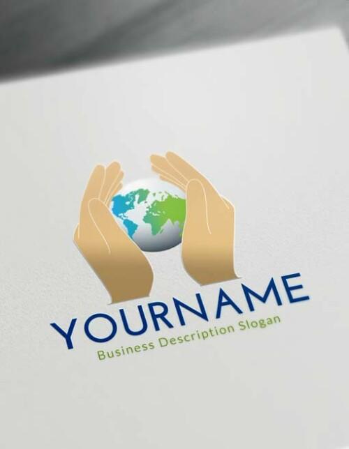 Free Logo Maker - Online Globe Hands Logo Creator