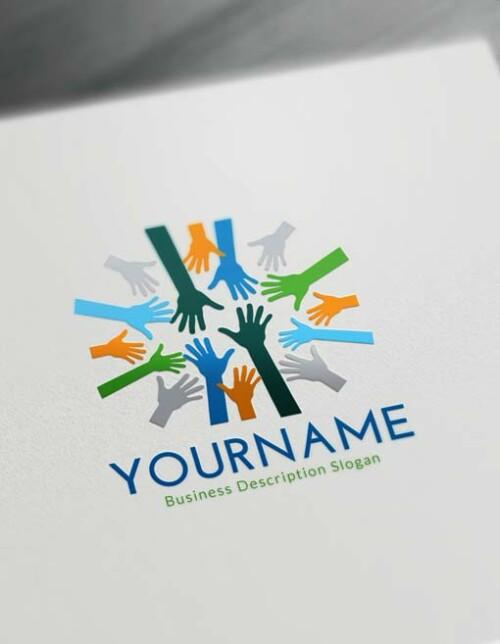 Free Logo Maker - Online Group Hands Logo Creator
