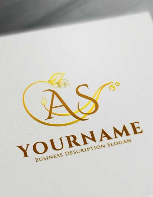 Free Logo Creator - Online gold Floral alphabet Logo Maker