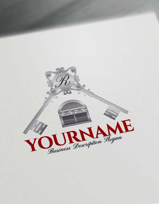 Online real estate free logo creator house key logo maker for House creator online