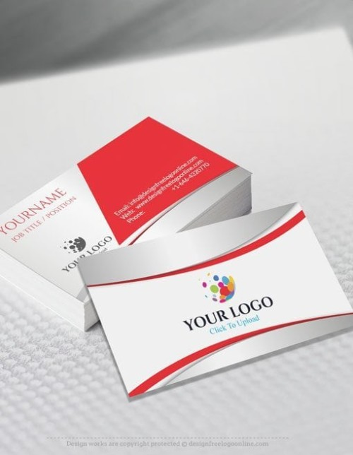 Online Business Card Maker app - 3D Red Business card Template