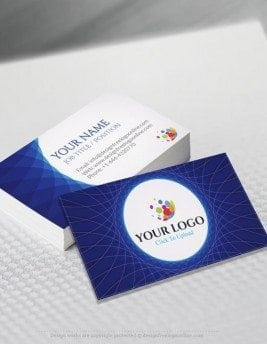 Online Free Business Card Maker app - Abstract Blue Business card