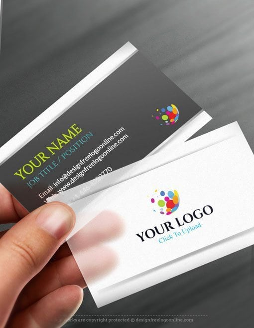 Online Business Card Maker app - 3D Silver Business card Template