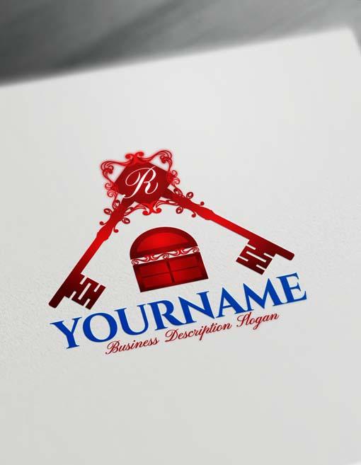 Online real estate Free Logo Creator House Key Logo Maker