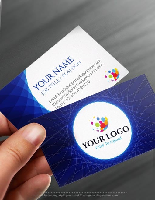 Free business card maker app 3d wave business card template online free business card maker app abstract blue business card reheart Image collections