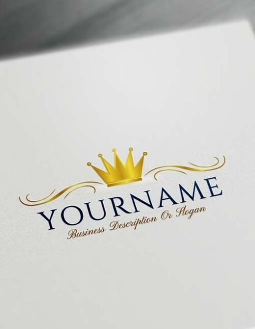 Free Logo Creator - gold Royal Simple Crown Logo Maker