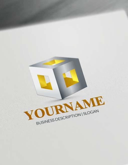 GOLD 3D cube logo free 3D logo maker