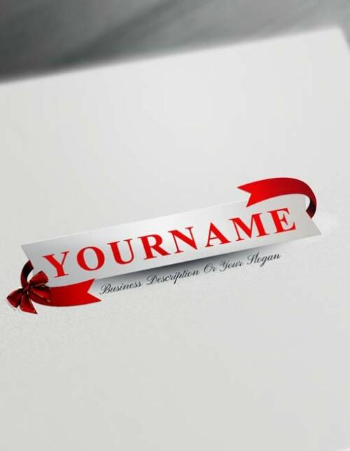 Online 3D Red Ribbon Gift Logo Maker - Free Logo Creator