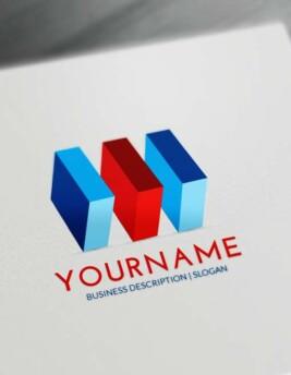 Free 3D Logo Maker - 3D blue Cubes Logo Creator Online