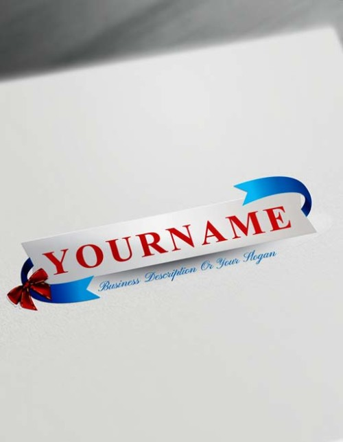 Online Blue Ribbon Gift Logo Maker - Free Logo Creator