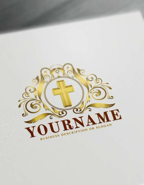 Jesus Gold cross Free Cross christian Logo Maker