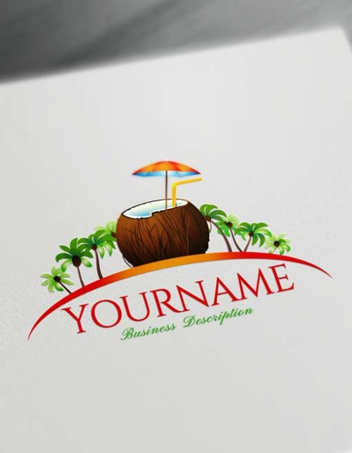 Design Free Logo Online Tropical Coconut Logo Generator