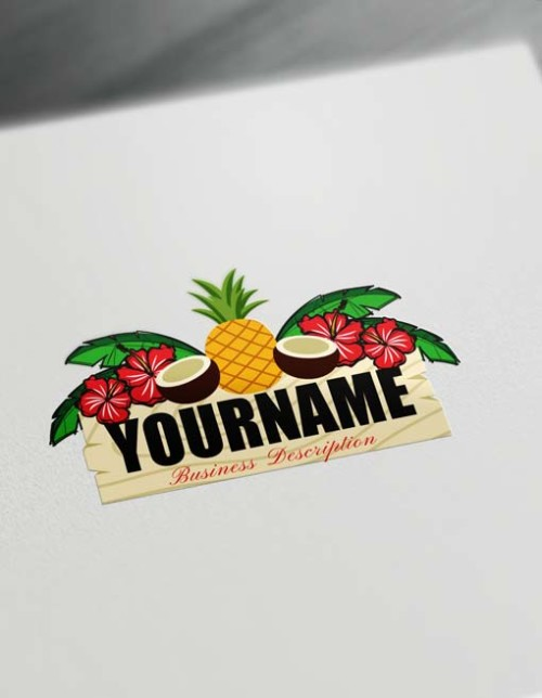Design Free Logo Tropical Coconut Pineapple Logo Generator