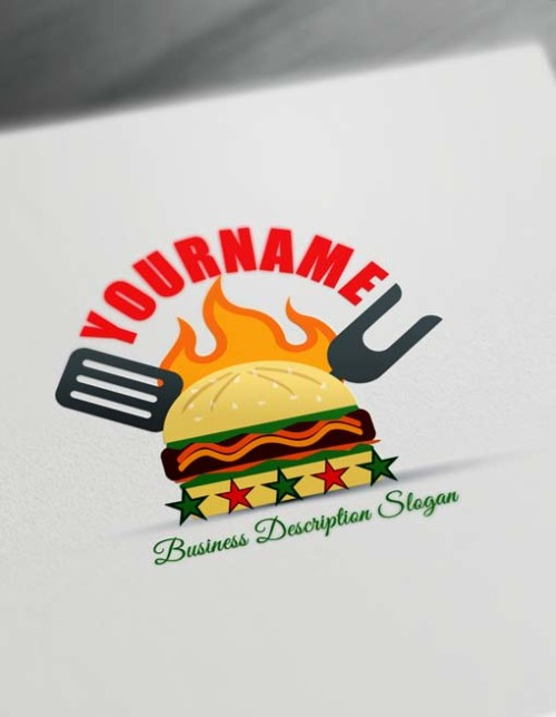 Make-Fast Food Retro Burger Logo Free Logo Creator