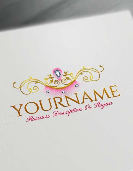 Create Your Own sexy eyelash Logo Free with makeup Logo maker