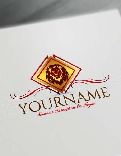 Golden Luxury Lion Head Logo Design