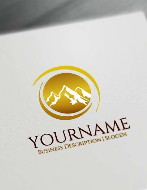Make Online golden mountains Logo design - Free Logo Designer