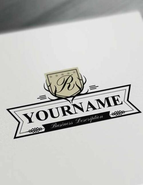 Online Deer Logo Design Free Vintage antler Logo Maker