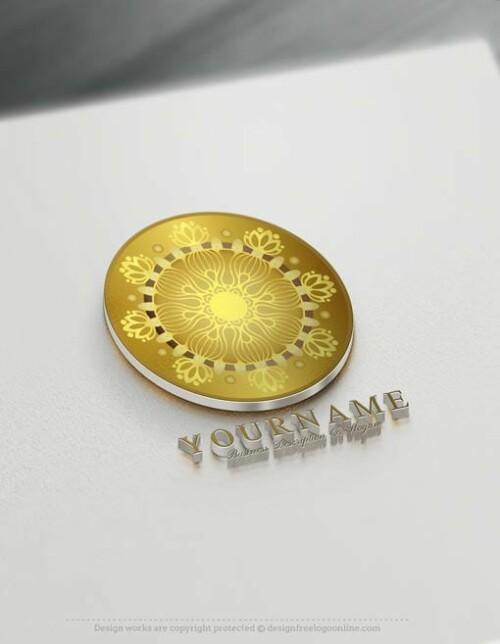 Gold Mandala Logo Design Free Mandala Pattern Logo Maker